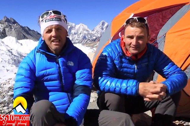 سیمون مورو و اولی استک در کمپ اورست